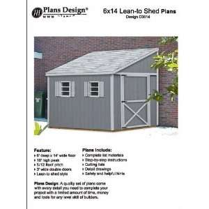 shed plans, Lean To Style Shed Plans, 6 x 14 Plans Design E0614