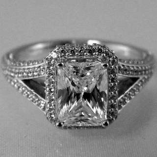 43 CTW EMERALD CUT SPLIT SHANK HALO ENGAGEMENT RING SOLID PALLADIUM