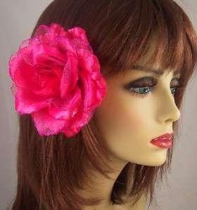 PINK FLOWER ROSE HAIR CLIP METALLIC GLITTER ACCESSORY Brooch Pin