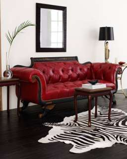 Red Tufted Leather Sofa & Loveseat