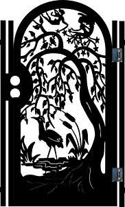 METAL ART GATE ON SALE GARDEN WROUGHT IRON BIRD TREE CUSTOM CUT