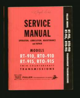 Fuller RT RTO 910 915 Transmission Service Manual EXC