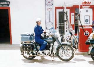 MOTORCYCLE WOMAN MOTOR MAID RED CROWN GAS SERVICE STATION PHOTO