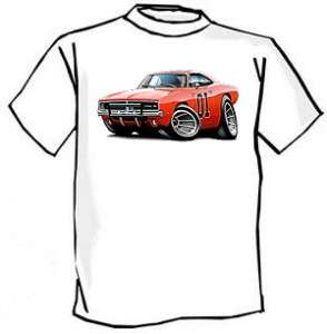 General Lee Charger Muscle Car Cartoon Tshirt FREE