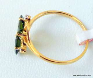 GREEN TOURMALINE DIAMOND RING 14K YELLOW GOLD JEWELRY
