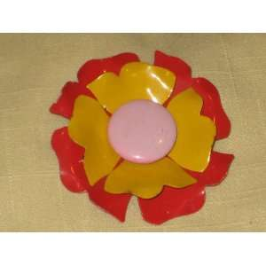 Red, Yellow & Pink Retro Flower Power Enamel Brooch Pin (not signed