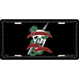 USMC MARINE CORPS DEATH DISHONOR SKULL LICENSE PLATE