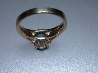 Estate London Blue Topaz Diamond Ring Yellow Gold 14kt