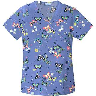 Stainglass Butterfly Mock Wrap Top Home Medical