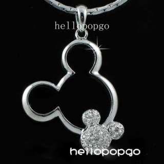 18K White gold GP Swarovski Crystal Mickey Mouse Necklace