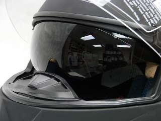 Matte Black Dual Visor Modular Flip Up Helmet ~ L