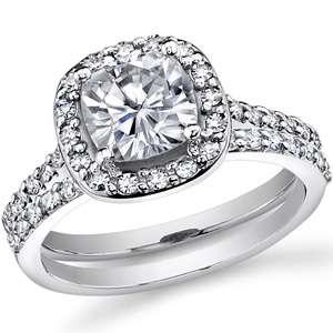 5mm Cushion Halo Moissanite Engagement Ring set 2.7ct