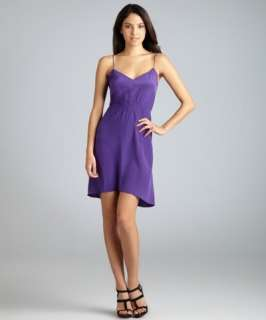 Geren Ford purple silk smocked waist v neck slip dress