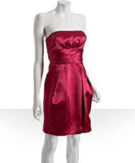 Max & Cleo sangria satin pleated strapless dress