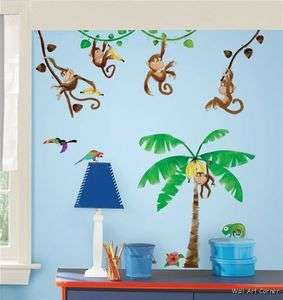 Jungle Monkey Business & Coconut Tree Wall Sticker Decals for kids
