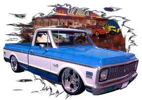 1972 Blue Chevy Pickup Truck c Hot Rod Diner T Shirt 72