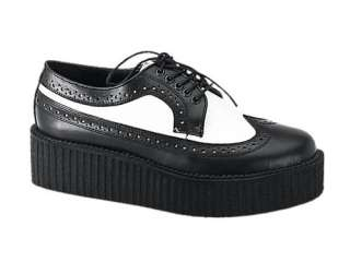 New Demonia Gothic Punk Rockabilly Black White Leather Creepers 408 M