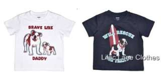 Gymboree Beach Bulldog Shirts Rescue for Treats, Brave Like Daddy, or