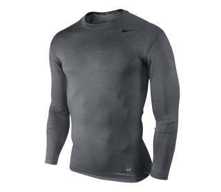 Nike Men Pro Combat Compression Long Sleeve Shirt Gray NWT Size L XL