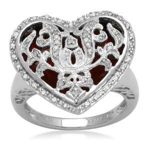 Sterling Silver Red Enamel Heart with Diamond Accent Ring (1/6 cttw, I