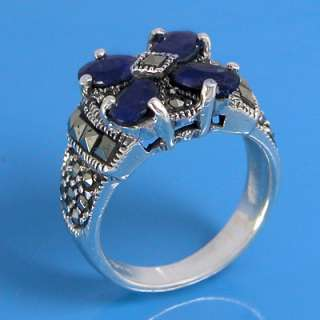 925 Sterling Silver Natural Marcasite and Natural Blue Sapphire Ring