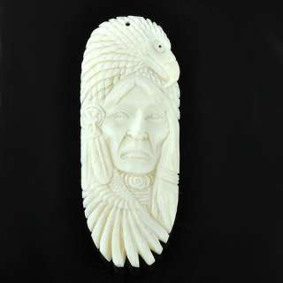asc10024 Indian Ox Bone Carving Face Pendant Eagle