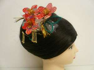 Handmade Chrimen Flower Kanzashi Hair Comb Ornament/ 04