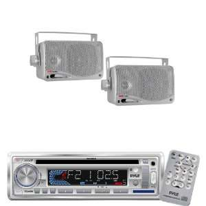 Pyle Marine Radio Receiver and Speaker Package   PLCD3MR AM/FM MPX IN