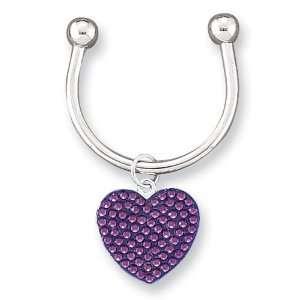 Purple Swarovski Crystal Key Ring Jewelry